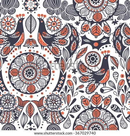 vector  seamless pattern with abstract birds, fishes and folk elements - stock vector