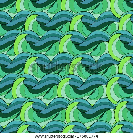 Vector seamless pattern with abstract colorful waves - stock vector