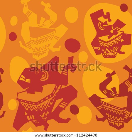 Vector seamless pattern with african drummer - stock vector