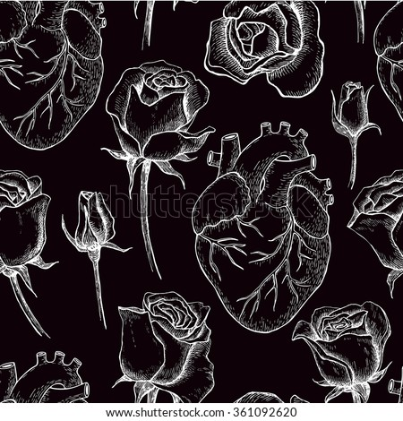 Vector seamless pattern with anatomical human heart and botanical roses. Hand drawn illustrations