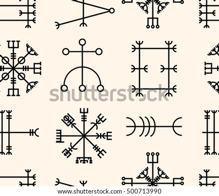 Vector seamless pattern with ancient runes of Iceland. Galdrastafir, mystic signs of early North magic