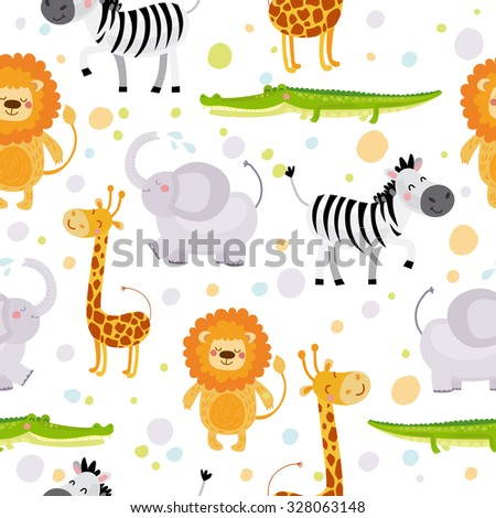 Vector seamless pattern with animals: giraffe, zebra, lion, elephant, crocodile - stock vector