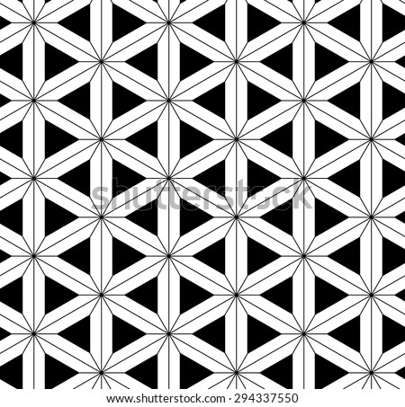 Vector seamless pattern with arrows,Modern textile print with illusion, Black and white sacred geometry texture , Symmetrical repeating background - stock vector