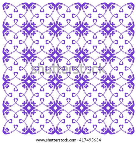 Vector seamless pattern with art ornament. Elements for design . Ornamental lace tracery background. Endless texture.Purple  white. - stock vector
