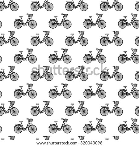Vector seamless pattern with bicycles. Black and white. - stock vector