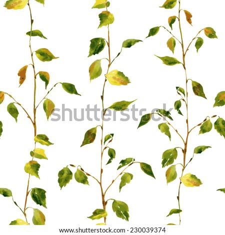 Vector seamless pattern with birch branches drawing by watercolor, hand drawn vector background - stock vector
