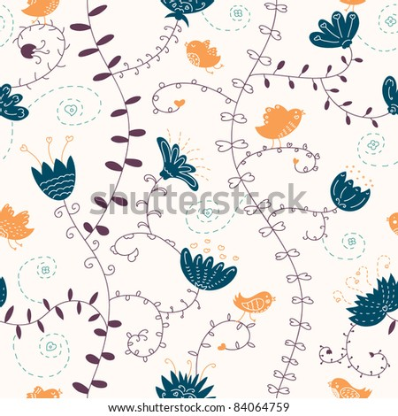 vector seamless pattern with birds - stock vector