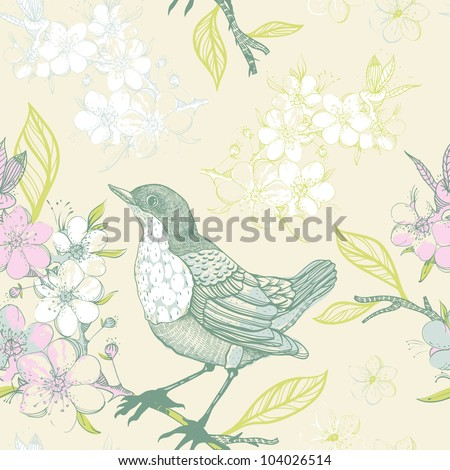 vector seamless pattern with birds and blooming apple tree - stock vector