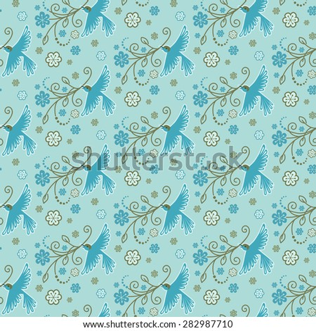 Vector seamless pattern with birds, flowers, leaves. Flying bird with blooming branch in beak. Decorative blue illustration for print, web - stock vector