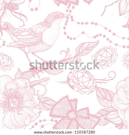 vector seamless pattern with birds,roses and jewelry - stock vector