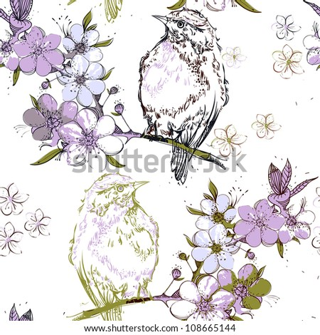 vector seamless pattern with birds sitting on a blooming apple tree - stock vector