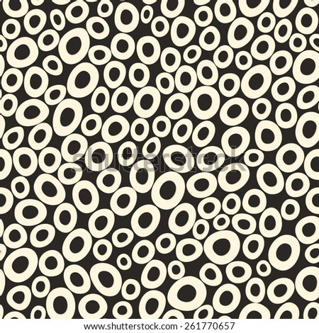 Vector seamless pattern with black and white circles. Dots pattern.