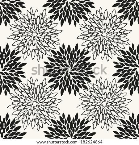 Vector seamless pattern with black flowers. Graphic repeating texture - stock vector