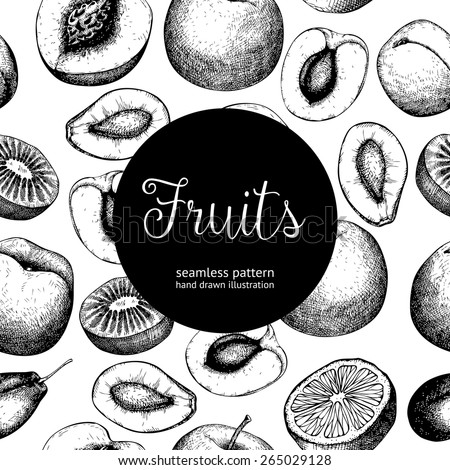 Vector seamless pattern with black ink hand drawn fruits for food and restaurant design. Vintage fruit background for vegetarian food. - stock vector