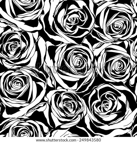 Vector seamless pattern with black roses flowers. Decorative floral silhouettes on white background. - stock vector
