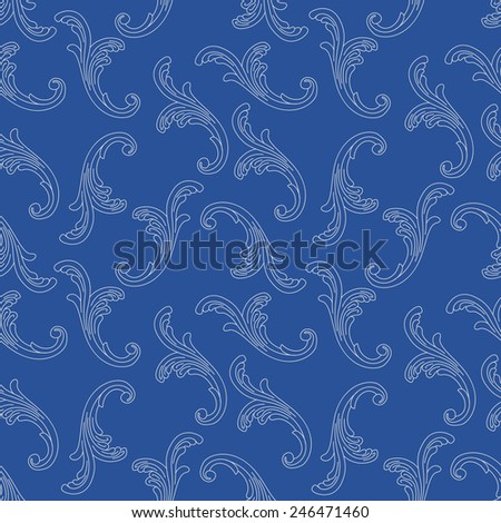 Vector seamless pattern with  blue Baroque curled floral elements  on indigo blue background - stock vector