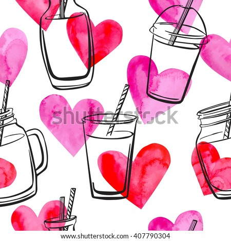 Vector seamless pattern with bottles, jars and glasses with smoothies and juices with bright watercolor pink and red hearts on white background. Black sketchy outline on pink paper textured symbols.