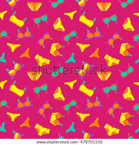 Vector seamless pattern with bra and pants
