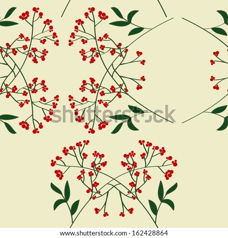 Vector seamless pattern with branches, leaves and berries - stock vector