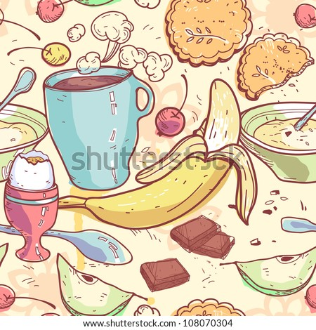 vector seamless pattern with breakfast food - stock vector