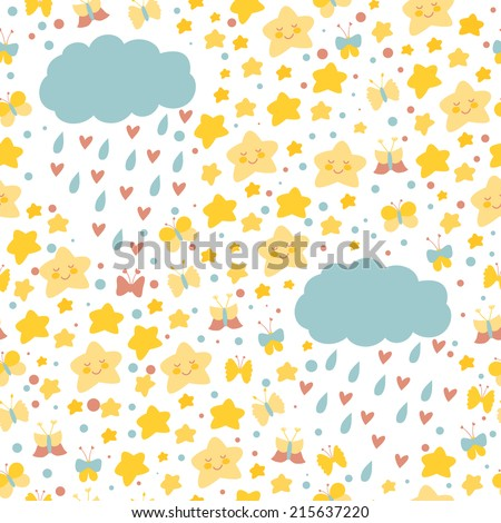 Vector seamless pattern with bright hand drawing elements: stars, butterflies and clouds. Cute repeating texture for children - stock vector
