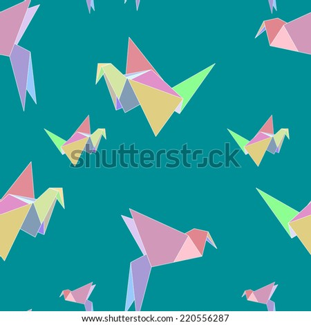 Vector seamless pattern with bright origami birds