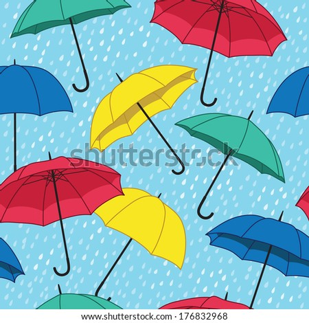vector seamless pattern with bright umbrellas