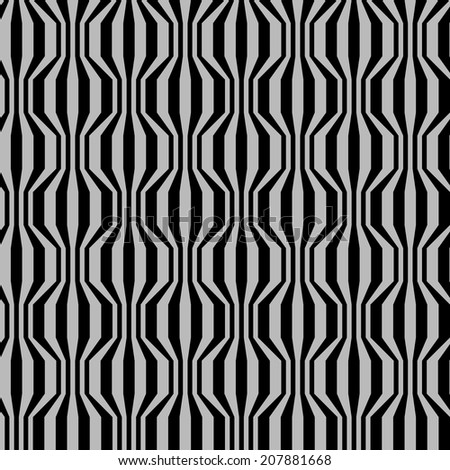 Vector seamless pattern with broken wavy strips . Vintage background in two colors. Simple ornamental illustration with texture for print, web