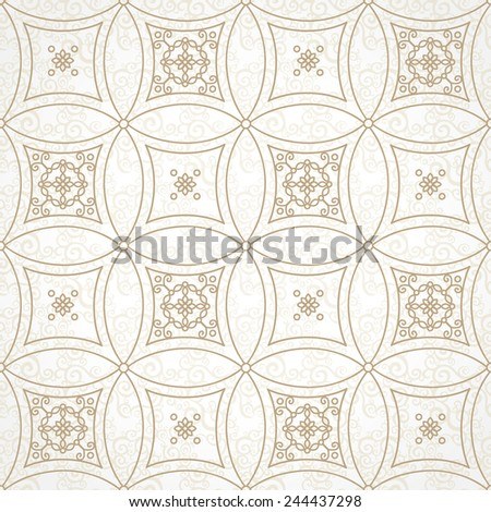 Vector seamless pattern with brown ornaments. Vintage element for design in Eastern style. Ornamental lace tracery. Ornate floral decor for wallpaper. Endless vintage texture. Lacy pattern fill. - stock vector