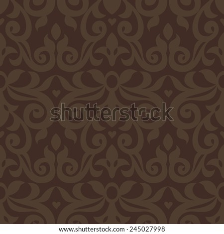 Vector seamless pattern with brown ornaments. Vintage element for design in Victorian style. Ornamental lace tracery. Ornate floral decor for wallpaper. Endless vintage texture. Dark pattern fill. - stock vector