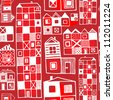 Vector seamless pattern with buildings in red color - stock vector