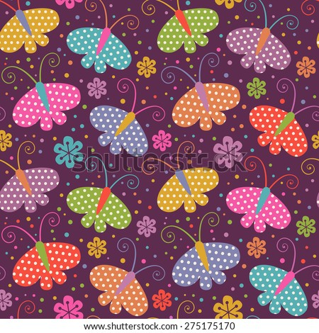 Vector seamless pattern with butterflies. Decorative background for print, web. Cute color illustration - stock vector
