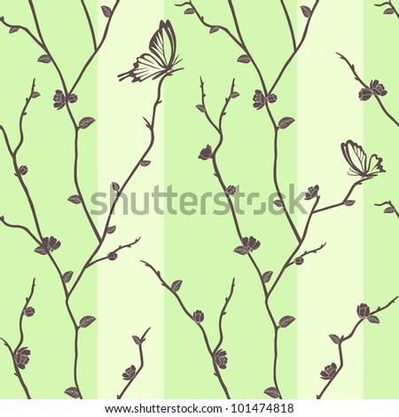 Vector seamless pattern with butterflies on sakura branches - stock vector
