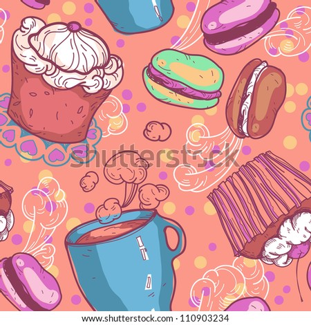 vector seamless pattern with cakes and cups of tea - stock vector
