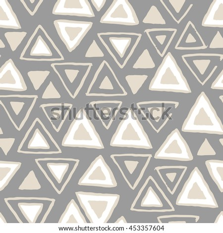 Vector seamless pattern with calligraphic brush stroke triangles. Tribal style design. - stock vector