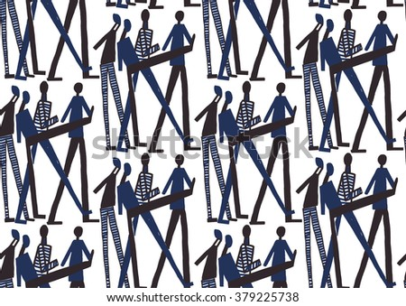Vector seamless pattern with careless people. Abstract background made using of brush smears. Monochrome hand drawn texture - stock vector