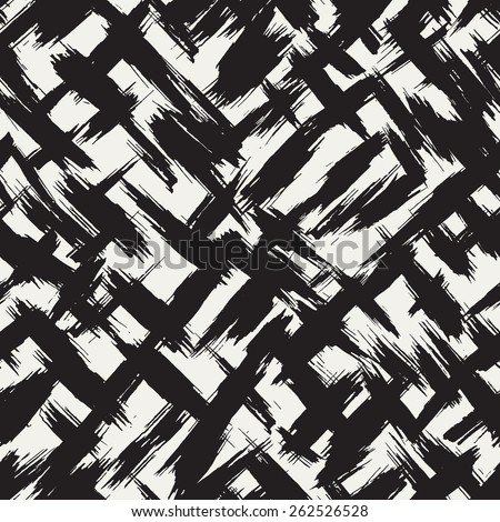Vector seamless pattern with careless strokes. Abstract background with brush strokes. Monochrome hand drawn texture - stock vector