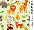 vector seamless pattern with cartoon animals - wallpaper background for kids - stock vector