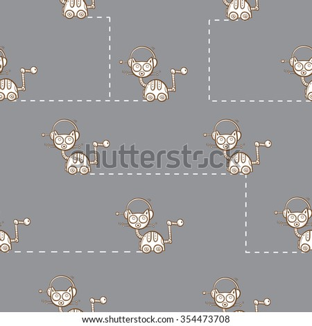Vector seamless pattern with cartoon cats robots on gray background. - stock vector