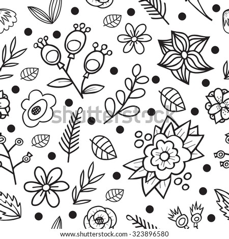 Vector seamless pattern with cartoon floral element. For print textiles or paper.