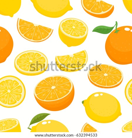 Vector seamless pattern with cartoon lemons and oranges isolated on white. Bright half, slice and whole of juice fruits. Illustration used for magazine, book, poster, card, menu cover, web pages.