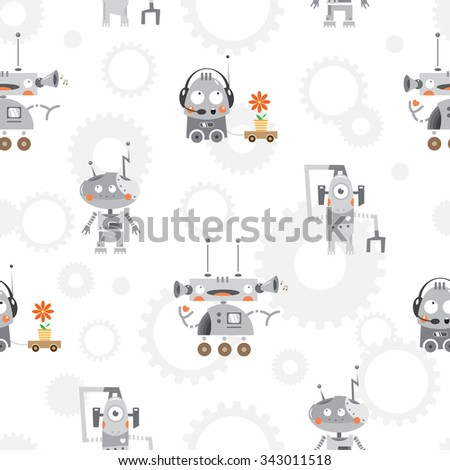Vector seamless pattern with cartoon robots and gears on  white  background. - stock vector