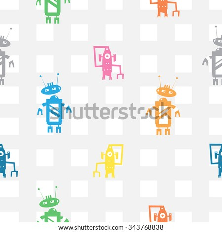 Vector seamless pattern with cartoon robots  on  checkered  background. - stock vector