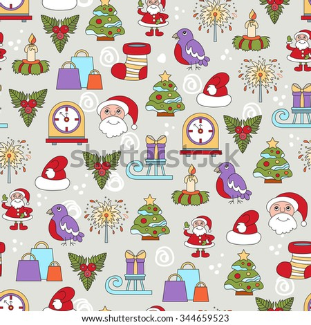 Vector seamless pattern with cartoon symbols of Happy New Year and Christmas Day. Background for use in design, packing, textile, fabric