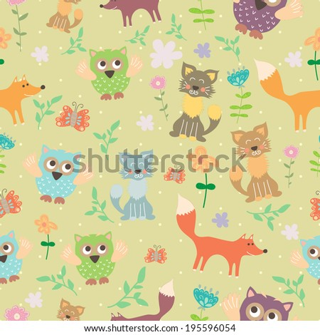 Vector seamless pattern with cats, fox, owls and flowers