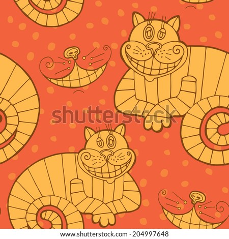 Vector seamless pattern with cheshire cat for tale Alice in Wonderland - stock vector
