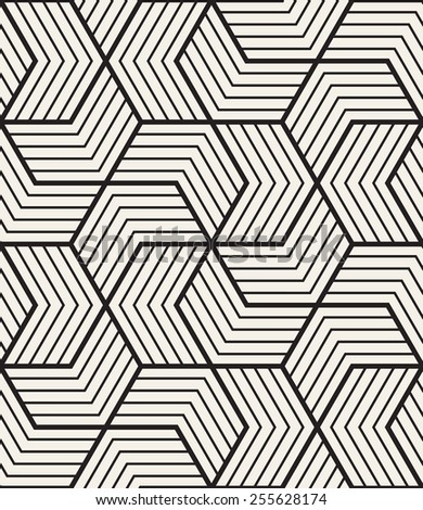 Vector seamless pattern with chevron. Modern geometric texture. Repeating abstract background. Polygonal linear grid from striped elements - stock vector