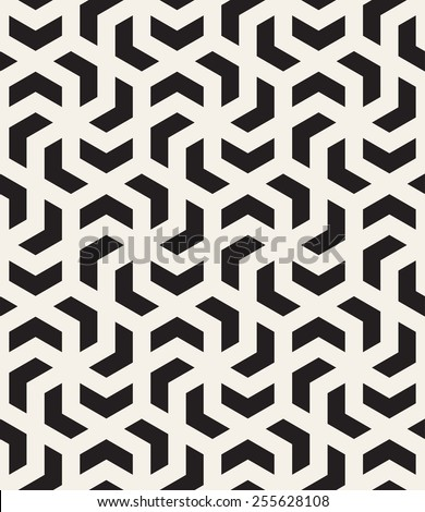 Vector seamless pattern with chevron. Modern stylish monochrome texture. Repeating abstract background with twisted polygonal elements. Black and white geometric tiles - stock vector