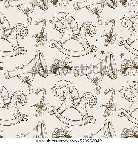 Vector Seamless Pattern With Christmas Decorations Hand Drawing Wood Horse Pipe Candy Cane