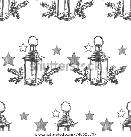 Vector Seamless Pattern With Christmas Lantern Fir Branches Hand Drawn Illustration New Year